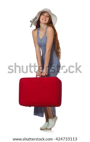 Woman preparing for summer vacation on white