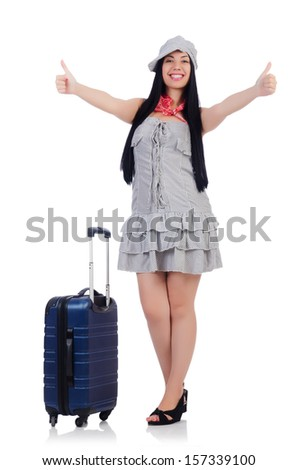 Woman preparing for travel on summer vacation - stock photo