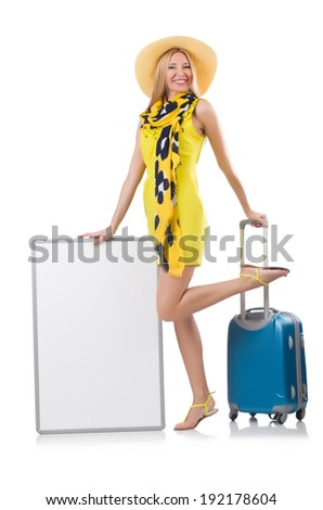 Woman preparing for vacation with suitcase and blank  board isolated  on white