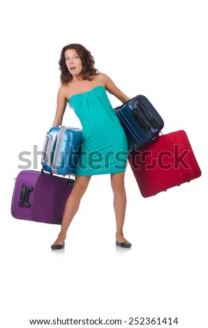 Woman preparing for vacation with suitcases isolated  on white - stock photo