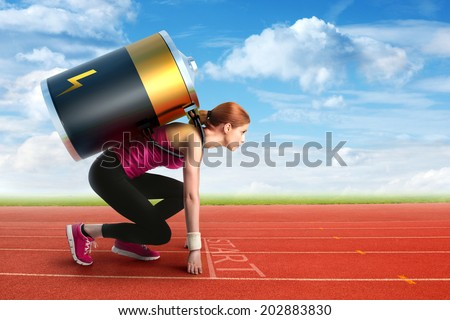 Woman preparing to run with a battery on her back