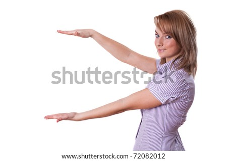 Woman presenting something on empty palm, isolated on white