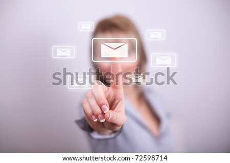 Woman pressing modern email button with one hand
