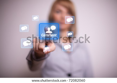 Woman pressing social net button with one hand
