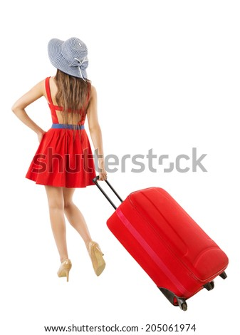 Woman pulling suitcase vacation. Summer holiday travel. Back side view. White background  - stock photo