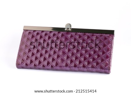 Woman Purple Purse (wallet) isolated on the white background. - stock photo