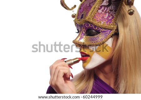 woman put on lipstick, isolated on white
