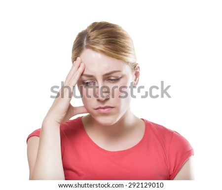Woman puts hand on the head, isolated on white. Concept of problems and headache.