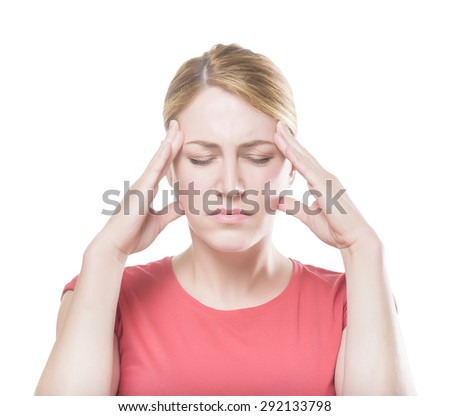 Woman puts hands on the head, isolated on white. Concept of problems and headache.