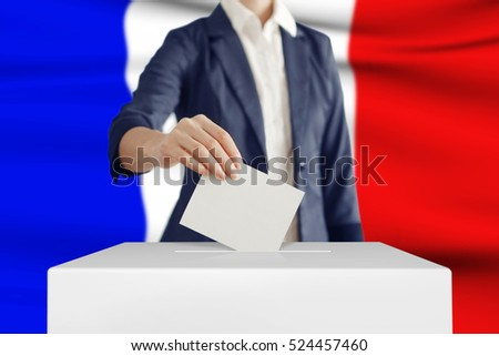 Woman putting a ballot into a voting box with French flag on background.