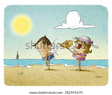 woman putting lotion on a man's back at the beach  - stock photo