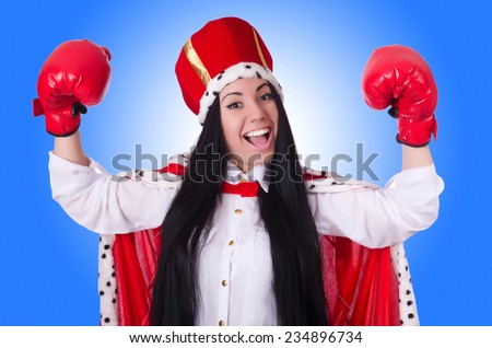 Woman queen with boxing gloves