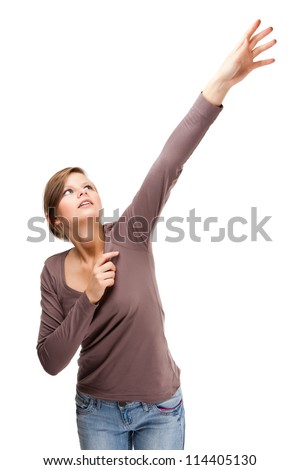 Woman reaching isolated on white background - stock photo