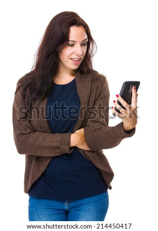 Woman read mobile phone