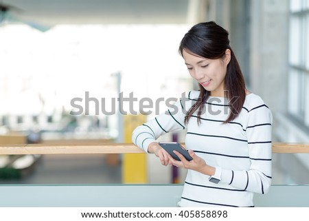 Woman read on cellphone - stock photo