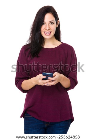 Woman read the message on phone