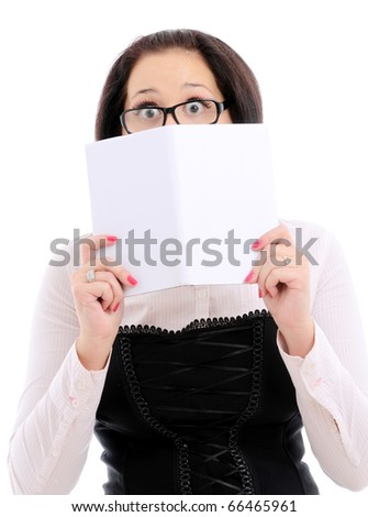 Woman reading a book. Isolated over white