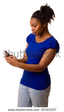 woman reading a text message.