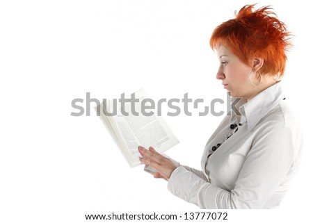 woman reading book isolate on white background