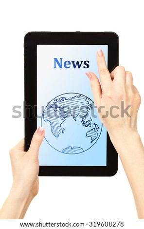 Woman reading business news on tablet PC, isolated on white - stock photo