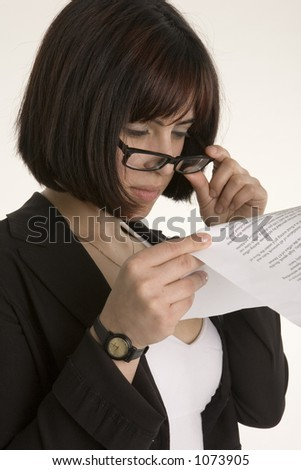 Woman reading the small print