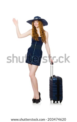 Woman ready for summer holiday isolated on white