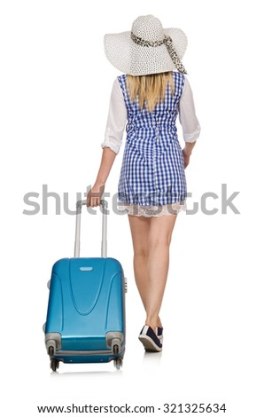 Woman ready for summer travel isolated on white - stock photo