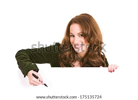 Woman Ready To Write With Marker On White Card