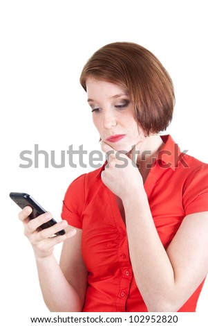 Woman receiving bad message - stock photo