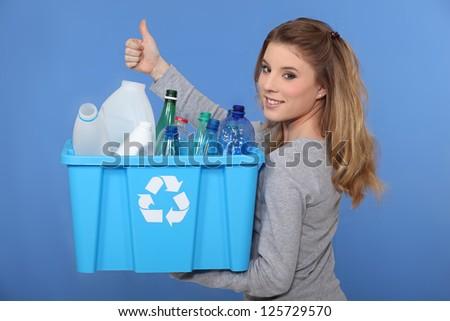 Woman recycling - stock photo