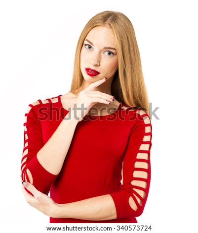 Woman red dress portrait isolated on white background. Female model.