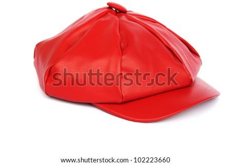 Woman red hat isolated on white background. - stock photo