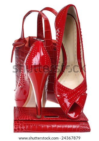 Woman red high shoe with purse and bag