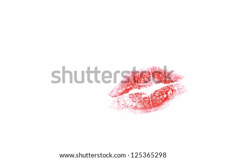 woman red lips isolated in white - stock photo