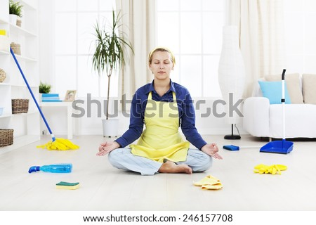 Woman relax after hard  cleaning work  - stock photo