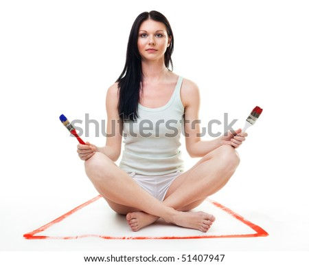 Woman relax from renovation and repaint hard work