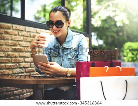 Woman Relaxation Coffee Cafe Shopping Bag Concept - stock photo
