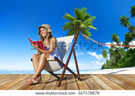 Woman Relaxation Reading Book Beach Concept - stock photo