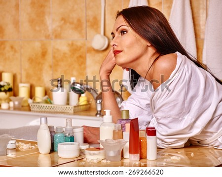 Woman relaxing at home luxury bath. - stock photo