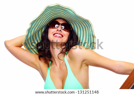 Woman relaxing on the beach. Isolated on white. - stock photo