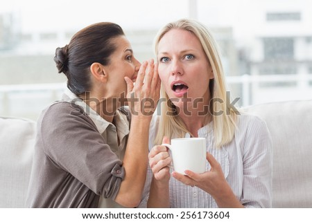 Woman revealing secret to her surprised friend and sitting on sofa - stock photo
