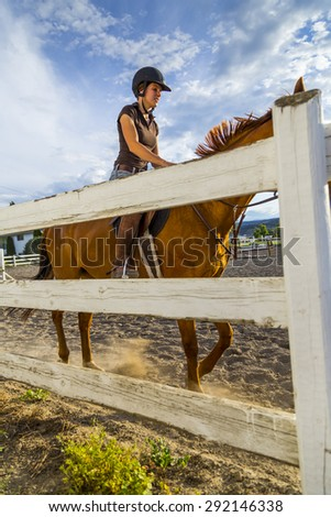 Woman Riding a Horse in Sunny Outdoor Ring