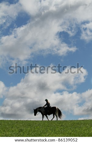 woman riding horse in silhouette - stock photo