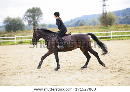 Woman Riding On Horse In Paddock