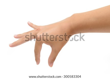 woman right hand pick up object isolated on white background. - stock photo