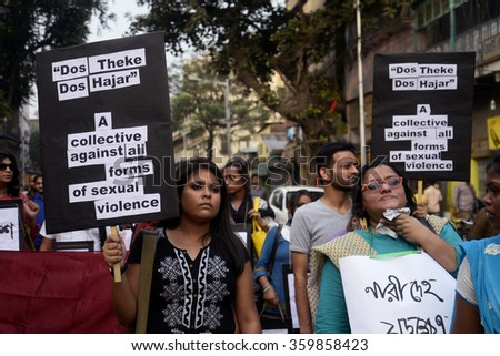 Woman Rights workers organized a protest rally protesting against violence against women on December 07, 2015 in Calcutta, India.
