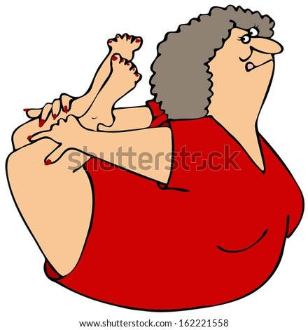 Woman rocking on her belly - stock photo