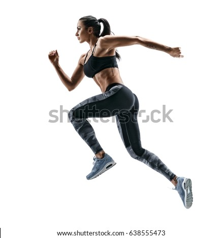 Woman runner in silhouette on white background. Dynamic movement. Side view