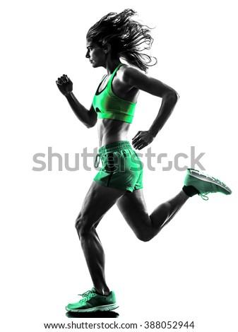 woman runner running jogger jogging silhouette - stock photo