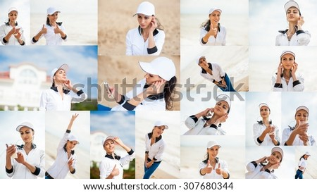 Woman runner running on the beach listening to music on smartphone using earphones. Female fitness girl jogging on path in amazing fall foliage landscape nature outside.Collage.